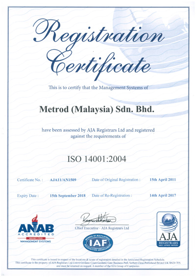 Welcome to Metrod Holdings Berhad - Environment - ISO 14001 Certificates